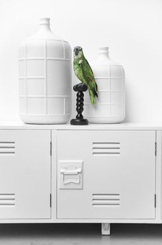 White Locker TV Cabinet | HK Living | © Paulina Arcklin | Est Magazine (green parrot)