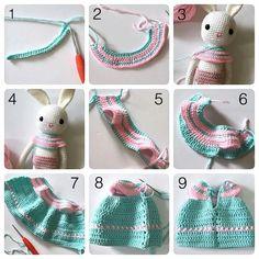 Mesmerizing Crochet an Amigurumi Rabbit Ideas. Lovely Crochet an Amigurumi Rabbit Ideas. Crochet Doll Dress, Crochet Doll Clothes, Crochet Doll Pattern, Baby Born Kleidung, Doll Dress Patterns, Love Crochet, Amigurumi Doll, Crochet Animals, Crochet Dresses