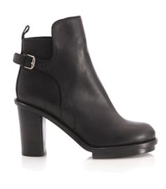 Cypress Buckle Boots by Acne. Black leather ankle boots with mid high block heel and small ankle buckle. #Matchesfashion