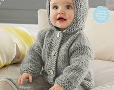 ENGLISH Garter Stitch Baby Hooded Jacket Beginner Knitting