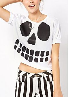 Skull Print Short Sleeve Crew-neck Crop T-shirt