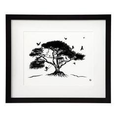 ELATION - MATTHEW AMEY | tattoo art, rope swing, tree, black white painting | UncommonGoods