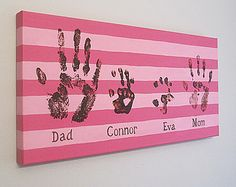 """Any Color, Stripe Family Handprint or Footprint Canvas Art with Print Kit, Personalized, Custom Handpainted Keepsake, 12x24"""""""