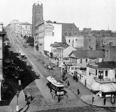 Historic San Francisco:  Cable car on California Street, 1879.