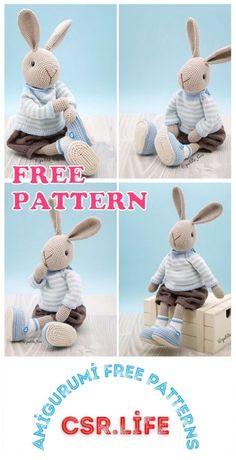Crochet Bunny, Crochet For Kids, Crochet Dolls, Free Crochet, Crochet Children, Amigurumi Patterns, Crochet Patterns, Crochet Ideas, Double Crochet