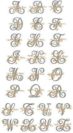 Fancy Floral Vine Monogram Embroidery Font/Alphabet by Anamored Embroidery Monogram Fonts, Embroidery Alphabet, Hand Embroidery Designs, Ribbon Embroidery, Embroidery Stitches, Hand Lettering Alphabet, Monogram Alphabet, Caligraphy Alphabet, Motifs Perler