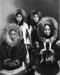 Four Inuit girls in fur parkas    Title: Four Inuit girls in winter clothing, Nome (?), Alaska.    Date: [ca. 1903-1915]