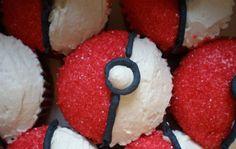 Pokeball Cupcakes - red sugar sprinkles must make these for nephew Jake! Pokeball Cupcakes, Yummy Cupcakes, Cupcakes For Boys, Pokemon Birthday, Pokemon Party, Cupcake Recipes, Cupcake Cakes, Baking Recipes, Free Recipes