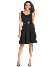 AGB Sleeveless Belted A-line Dress