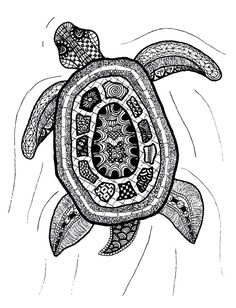 Zentangle Art | Zentangle Turtle Print by Printfox on Etsy