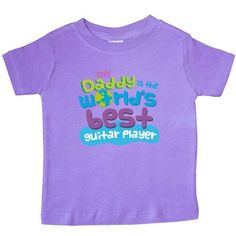 Inktastic World's Best Guitar Player Daddy Baby T-Shirt Child's Kids Gift Player's Son Childs Like My Cute Occupation Apparel Is Occupations T-shirt Infant Tees Shower Clothing Hws, Boy's, Size: 18 Months, Purple