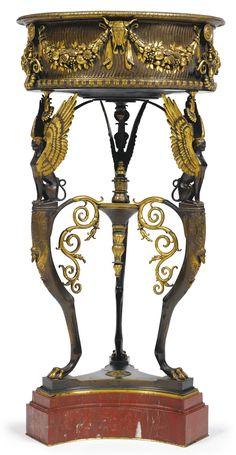 """Ferdinand Barbedienne<br>1810-1892<br>""""Trépied du Temple D'Isis"""", a gilt and patinated bronze revolving jardinière<br>Paris, late 19th century   Lot   Sotheby's"""