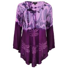 $19_3X/4X__  Our_Darting_Dragonfly_Tunic features beautiful beaded accents against varying shades of violet and is made with a wrinkle-resistant fabric, making it perfect for travel!