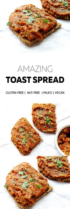 Delicious vegan, paleo, nut-free and gluten-free toast spread from roasted summer vegetables. Great as a savory vegan breakfast or a quick snack/dinner. Also good as a dip.