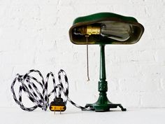 Vintage Cast Iron Green Industrial lamp