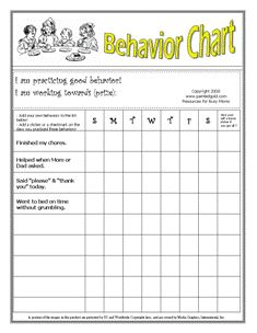 Printable Behavior Charts Nice set up for younger children