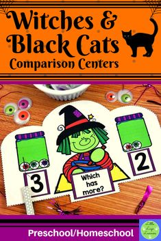 These Witches Preschool Halloween, Halloween Witches, Halloween 2020, Numbers Preschool, Preschool Math, Maths, Morning Activities, Cat Activity, Heavy And Light