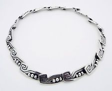"Margot de Taxco Mexico 15"" Choker Necklace in Sterling Silver # 5122 Eagle #16"