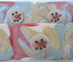 This soap is actually a combination of 3 soaping techniques; The soap itself is cold process, the snowman is hot process and. Christmas Soap, Soap Packaging, Cold Process Soap, Soap Recipes, Soap Molds, Home Made Soap, Diy Candles, Handmade Soaps, Candle Making