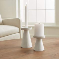 Marin White Taper/Pillar Candle Holders at Crate and Barrel Canada. Discover unique furniture and decor from across the globe to create a look you love. Candle Lanterns, Pillar Candles, Candle Vases, Candels, Candleholders, Chandeliers, Clay Candle Holders, Modern Candle Holders, Home Decor Vases