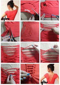 T-shirt cutting, maak van een t-shirt een mooi en opvallend mode-item met een schaar en een liniaal.