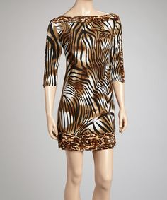 Take a look at this Brown & Black Animal Boatneck Shift Dress by Avital on #zulily today! $30 !!