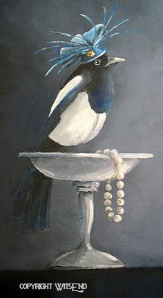 "'MILLICENT THE MAGNIFICENT MAGPIE"". Magpie Bird painting  original fascinator pearls and silver compote.  by 4WitsEnd, via Etsy"