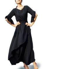 Black Iris  asymmetrical artist maxi dress Q1031 by idea2lifestyle, $68.00