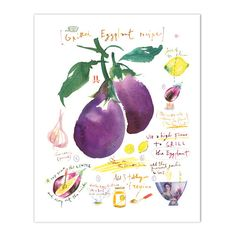 """Printed on fine art """" BFK Rives """" hot-pressed paper, smooth surface, 140 lb, cotton (acid free ), using archival pi Kitchen Prints, Kitchen Art, Grilled Eggplant Recipes, Recipe Drawing, Fruit Nutrition Facts, Middle East Food, Dark Chocolate Nutrition, Vegetable Prints, Watercolor Food"""