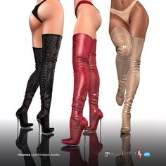 [Gos] Rihanna Perforated Boots - Collection The Sims 4 Pc, Sims Four, Sims Cc, Sims 4 Body Mods, Sims 4 Game Mods, Sims 4 Mods Clothes, Sims 4 Clothing, Sims 4 Nails, Sims 4 Cc Shoes