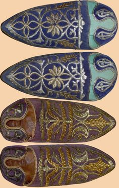 Antique Ottoman Velvet Shoes  Embroidery with Gold and Silver    Ottoman Dynasty  1453-1922A.D