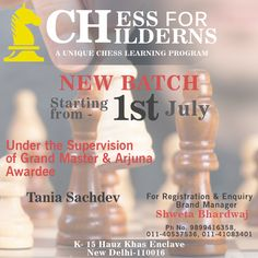 Chess for Children Registration Open...  New Batch starting from 1st July for beginners and Intermediate students between the age group of 4.5 years to 15 years under the supervision of Grand Master & Arjuna Awardee Tania Sachdev.  For registration Visit : http://chessforchildren.in/registration.php  #chess #chesstrips #learnchess #playchess #chessforchildren