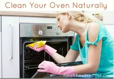 Easy Natural Oven Cleaner. Spray with water then sprinkle on baking soda, spray again with water, then let set for at least 1 hr before wiping out.