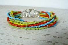 MultiColor Boho Bracelet Colorful Multi Strand Jewelry Bohemian Style Yellow, Turquoise, Orange and Lime