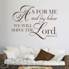 Choose your own color and size of this beautiful wall decal version of the Joshua 24:15 bible verse that reads: As for me and my house we will serve the Lord.  #bibleverse #wallart #walldecals #wallquotes #bibledecals #biblewallart #servetheLord #christiandecor #christianwalldecals #christian #religious #church #vinyldecals