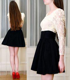 Lace Shirt, H&M Black Skirt, Toria Blanic Red Heels