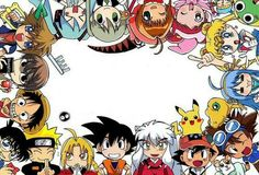 Detective Conan, Naruto, Fullmetal Alchemist, Dragon Ball, Inuyasha, Pokemon, Hamtaro, Digimon, Lucky Star, Sailor Moon, Sgt Frog, (dunno this one), Magical DoReMi, Cardcaptor Sakura, Soul Eater, Vocaloid, Kingdom Hearts, Death Note, One Piece