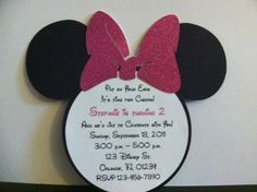 Minnie Mouse Birthday Invitations with Envelopes QTY 20 (Hot pink glitter Bow). $30.00, via Etsy.