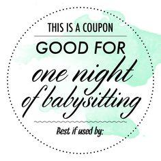 babysitter date night printable babysitting gift coupon template 273