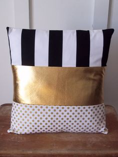 Gold Glam Polka Dot Pillow Cover With Black and by ShabbyByMelissa, $28.50