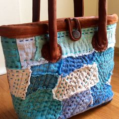 Hand Quilted Japanese Boro Bag sashiko stitch by HobbsHillQuilts