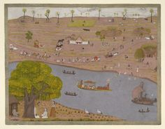 A river scene with a nobleman in a morpunkhi, with a shrine and travellers. Opaque watercolour, India, Murshidabad style, ca. 1760,  British Library, a river scene in Murshidabad, West Bengal