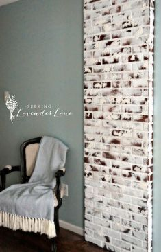 DIY Faux Brick Exposed Chimney - How I added character to my Master Bedroom by creating a Brick Exposed Chimney with brick paneling that I bought at [me… Faux Brick Panels, Brick Paneling, Paneling Ideas, Fake Brick, Exposed Brick, White Brick Walls, Brick Wallpaper, Brick Fireplace, Fireplace Ideas