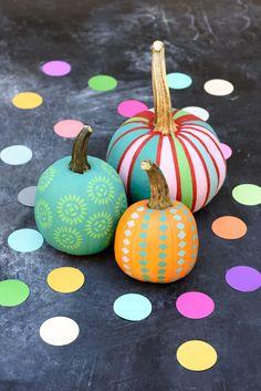 No-carve pumpkin ideas: Colorful painted pumpkins using folk stencils on Handmade Charlotte