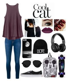 """""""Cool cat"""" by blessed-with-beauty-and-rage ❤ liked on Polyvore featuring Frame Denim, RVCA, Vans, 3.1 Phillip Lim, Beats by Dr. Dre, women's clothing, women, female, woman and misses"""