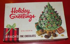 "Brachs Fine Chocolates ""Holiday Greetings"" Candy Box Vintage"