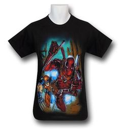Images of Deadpool and Wolverine Charge on Black T-Shirt