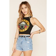 Forever 21 Women's  Guns N Roses Graphic Crop Top ($15) ❤ liked on Polyvore featuring tops, crop, rose tunic, racer back tops, crop top, rosette top and graphic tops