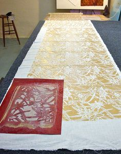 Katazome, or stencil dyeing, is a Japanese paste-resist surface design technique
