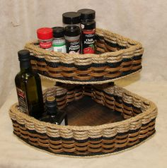 Shabby Chic Collection--Double Corner Basket Distessed
